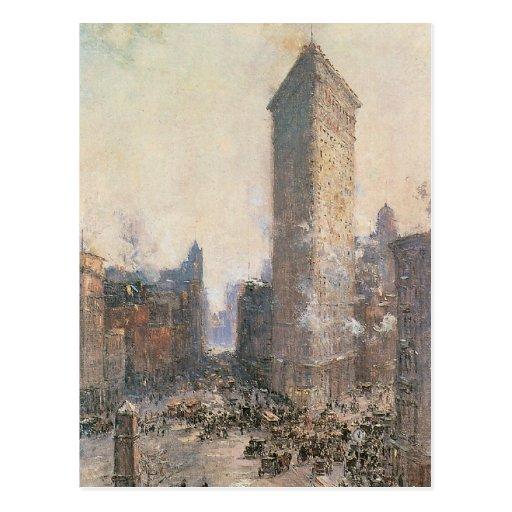 Edificio plano del hierro, Nueva York circa 1908 Postal