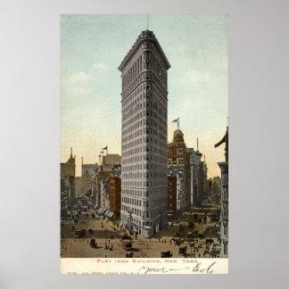 Edificio plano del hierro, vintage 1918 de New Yor Póster