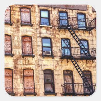 Edificio rústico de Nueva York Etiqueta