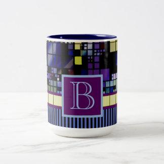 Edificio urbano de la ciudad abstracta geométrica taza de café de dos colores