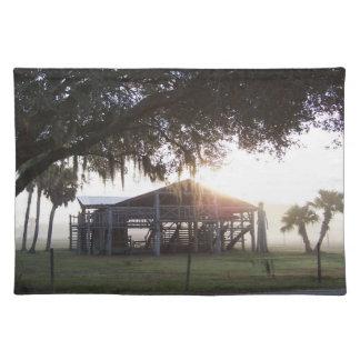 Edificio viejo del rancho debajo de árboles con la manteles individuales