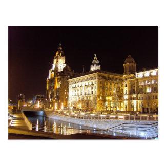 Edificio y canal, Liverpool Reino Unido del hígado Postales