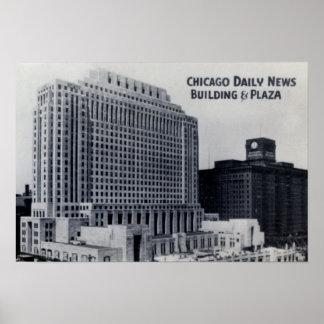 Edificio y plaza diarios de las noticias de Chicag Posters