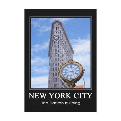 Edificio y reloj 1C de Flatiron Impresión En Lona