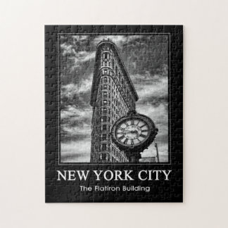 Edificio y reloj de Flatiron en 1C blanco y negro Puzzles