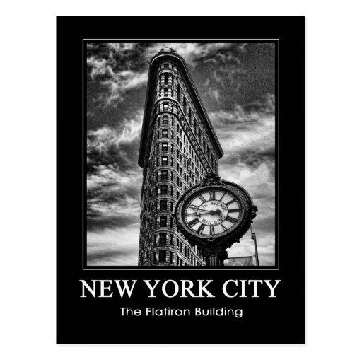 Edificio y reloj de Flatiron en 1C blanco y negro Tarjetas Postales