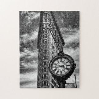Edificio y reloj de Flatiron en blanco y negro Rompecabezas Con Fotos