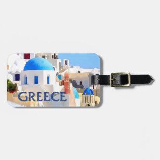 Edificios blancos que ciegan en Grecia Etiqueta Para Maleta