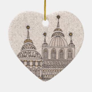 Edificios caprichosos del ejemplo del cuento de adorno navideño de cerámica en forma de corazón