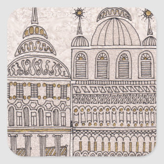 Edificios caprichosos del ejemplo del cuento de pegatina cuadrada