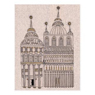 Edificios caprichosos del ejemplo del cuento de tarjeta postal