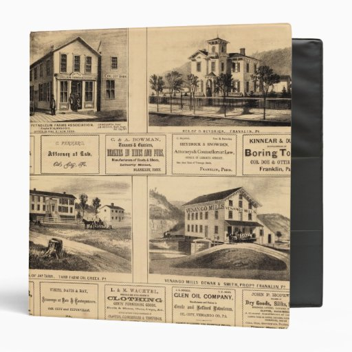Edificios, ciudad del aceite, Franklin, granja de