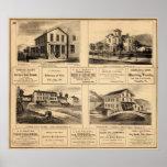 Edificios, ciudad del aceite, Franklin, granja de  Poster
