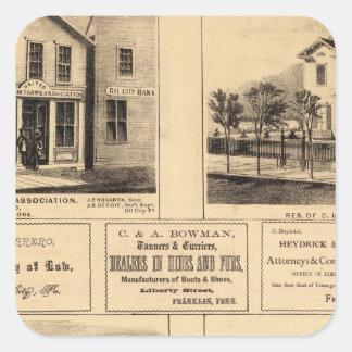 Edificios, ciudad del aceite, Franklin, granja de Pegatina Cuadrada