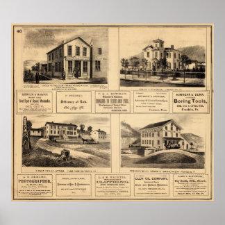 Edificios, ciudad del aceite, Franklin, granja de  Póster