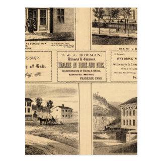 Edificios, ciudad del aceite, Franklin, granja de Tarjeta Postal