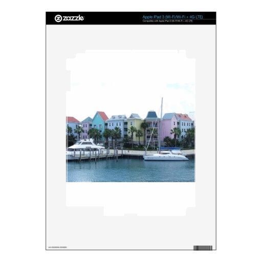 Edificios coloridos de Bahamas de la isla del para iPad 3 Skins