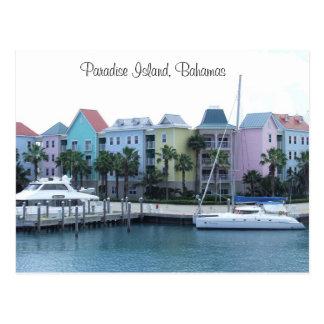 Edificios coloridos de Bahamas de la isla del Tarjetas Postales
