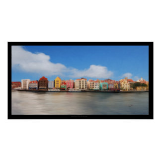 Edificios coloridos de Willemstad, poster de Curaç
