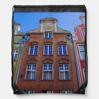 Edificios coloridos en Gdansk Danzig, Polonia Mochila