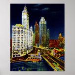 Edificios de Chicago Illinois Wrigley por noche Poster