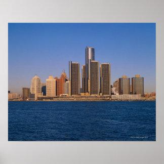 Edificios de Detroit en el agua Impresiones