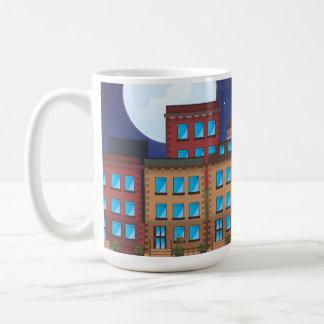 Edificios de la arenisca de color oscuro taza de café