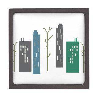 Edificios de la ciudad caja de recuerdo de calidad