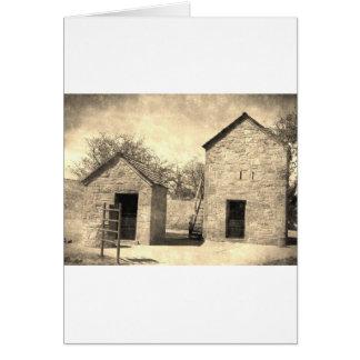 Edificios de la granja del ladrillo del vintage tarjeta de felicitación