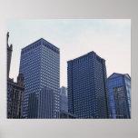 Edificios de oficinas en Chicago céntrica, Illinoi Póster