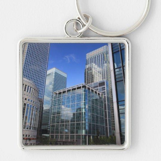 Edificios de oficinas modernos llavero cuadrado plateado