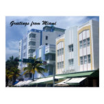 edificios del deco de Miami Tarjeta Postal