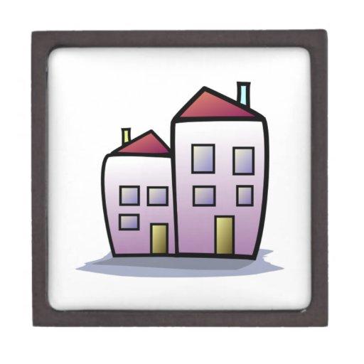 Edificios del dibujo animado cajas de regalo de calidad