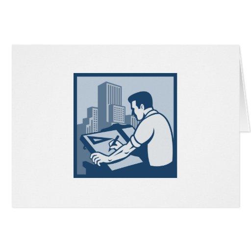 Edificios del dibujo del ponente del arquitecto re tarjeta de felicitación