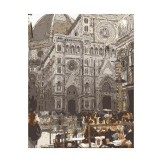 Edificios e iglesia de piedra rústicos en París Lienzo Envuelto Para Galerias