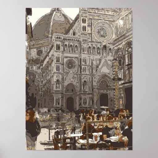 Edificios e iglesia de piedra rústicos en París Impresiones