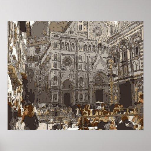 Edificios e iglesia de piedra rústicos en París Posters