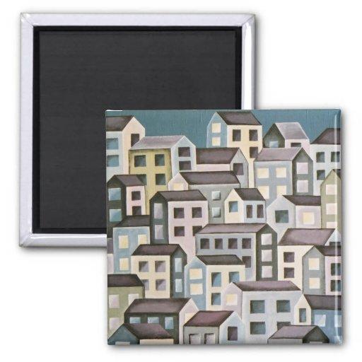 edificios púrpuras/grises imanes de nevera