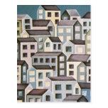 edificios púrpuras/grises postal