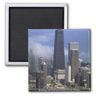 Edificios, visión desde el top de Torre Sears, Chi Imanes Para Frigoríficos