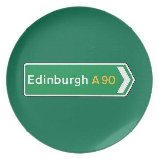 Edimburgo señal de tráfico BRITÁNICA Plato Para Fiesta