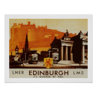 Edimburgo vía el poster del carril de LNER