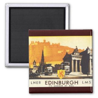 Edimburgo vía el poster del carril de LNER Imán Cuadrado