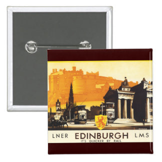 Edimburgo vía el poster del carril de LNER Pin Cuadrado