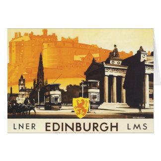 Edimburgo vía el poster del carril de LNER Tarjeta De Felicitación