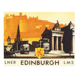 Edimburgo vía el poster del carril de LNER Tarjetas Postales