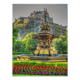 Edinburgh Castle and Fountain art print