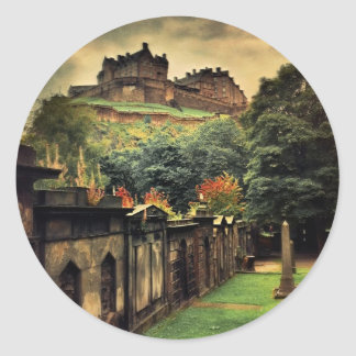 Edinburgh Castle - Antique Style Classic Round Sticker