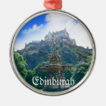 Edinburgh Castle Customize Product Round Metal Christmas Ornament