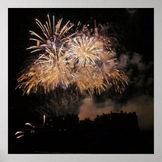 Edinburgh Castle Fireworks Poster
